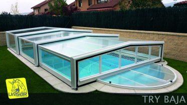 Cubierta para Piscina UniSUR modelo TRY cubierta desmontable para piscina con Escalera Romana