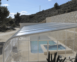 cubierta adosada para piscina