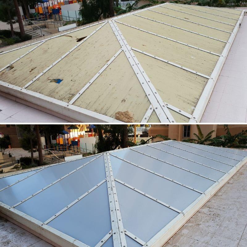 UniSUR Reparación de cubierta de piscina en hotel con piscina cubierta